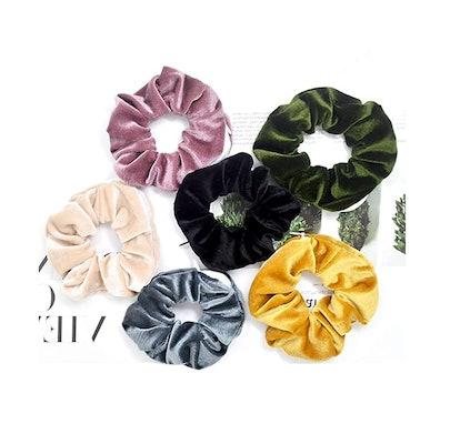 Fifwumang Velvet Scrunchie with Zipper Pocket (6-Pack)