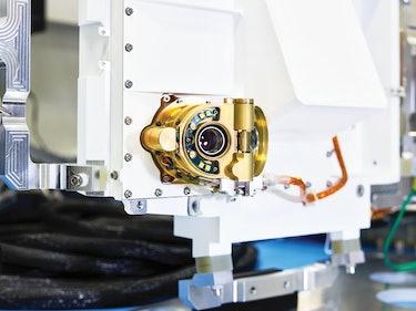 A closeup of the Perseverance rover's WATSON camera lens.