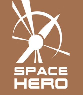 A logo associated with Space Hero, showing a drawing of the outline of a satellite with the words SPACE HERO at the bottom.