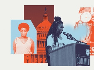 A composite photo overlaid in reds and blues of three young Black women, one looking at the camera, one speaking at a podium, and one with a megaphone speaking to a protest crowd