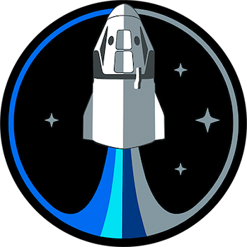 The Inspiration4 logo, a drawing of a rocket shooting out various streams of blue and grey.