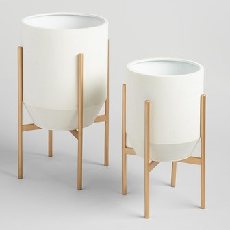 Tapered Ivory Planter With Gold Stand
