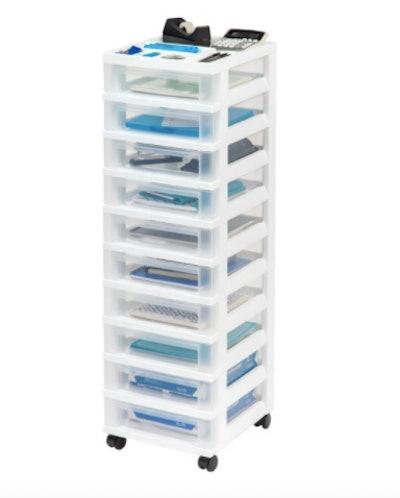 10-Drawer Storage Cart with Organizer Top