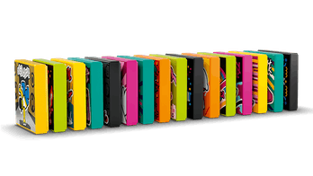 Multicolored Lego 'BeatBits' are standing in a row like dominos
