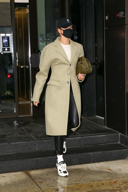 Hailey Bieber steps out on November 30, 2020 in New York City.