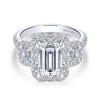 Gabriel 14K White Gold Emerald Cut Diamond Engagement Ring