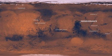 A map of Mars pinpointing the Perseverance rover landing site.
