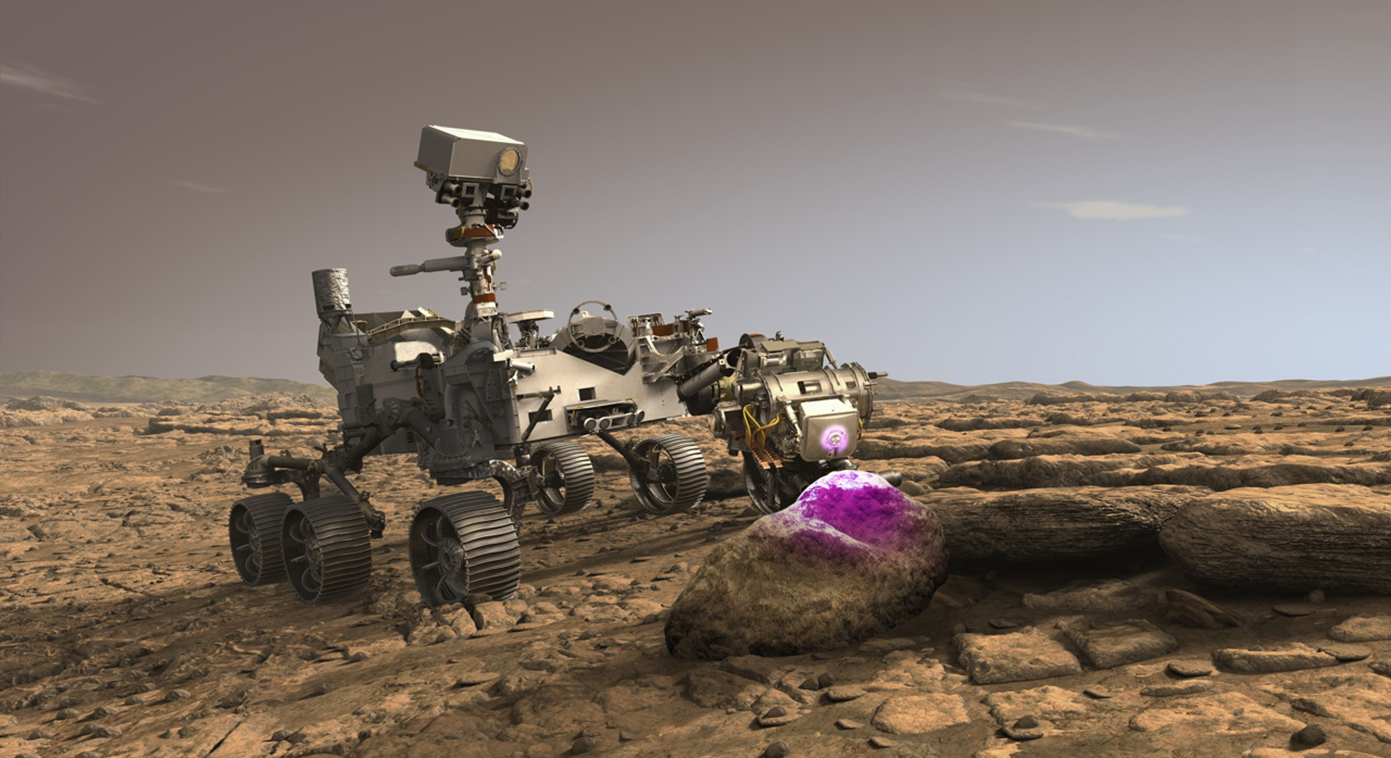 An illustrated image of the Perseverance rover on the surface of Mars.