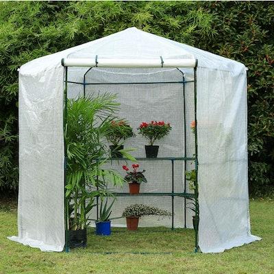 Erommy Hexagonal Walk-in Greenhouse Kit