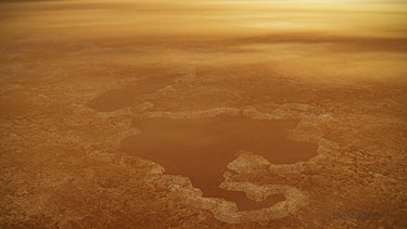 Artist's concept of a lake at Titan's north pole.