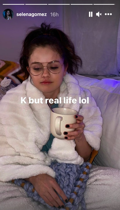 Selena Gomez sitting on the couch in an Instagram Story post
