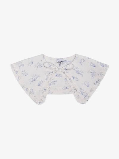 White Cat Print Detachable Collar
