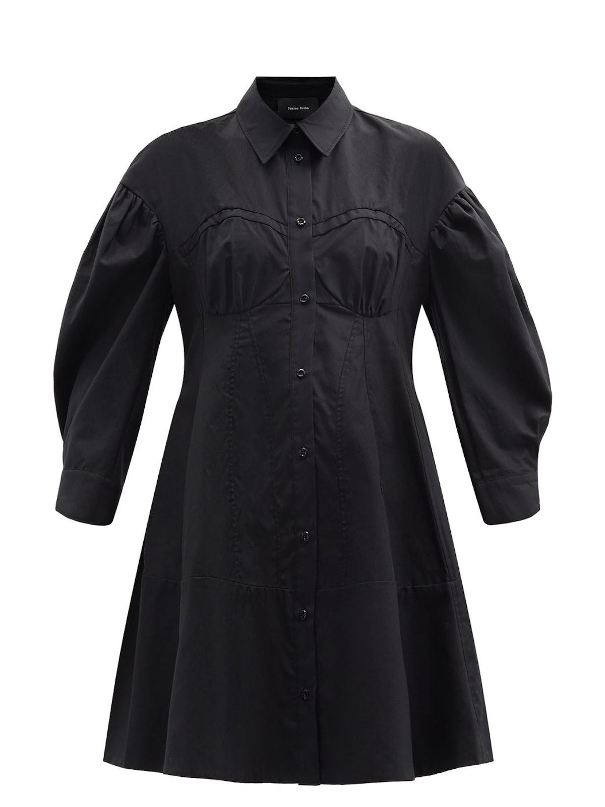 Corset Cotton-Poplin Shirt Dress