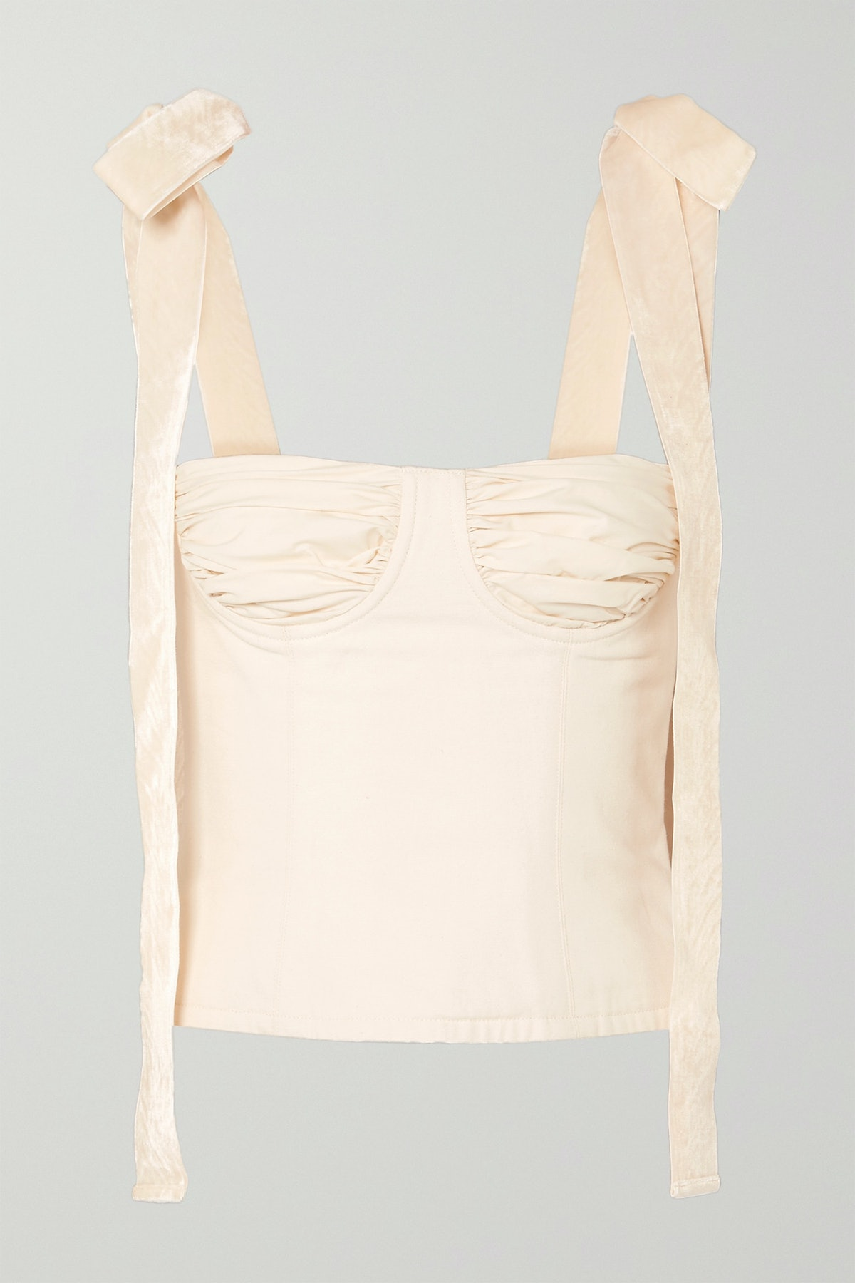 Velvet-Trimmed Cotton-Canvas Bustier Top
