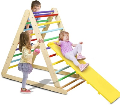 Costzon Foldable Wooden Triangle Ladder for Sliding & Climbing