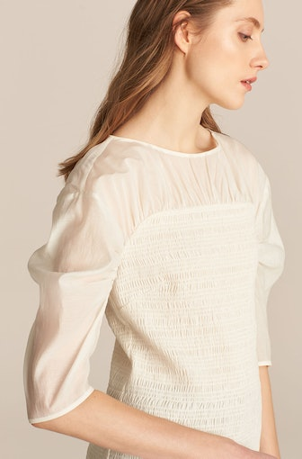 Longsleeve Ruched Organza Blouse