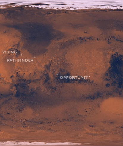 A map of Mars pinpointing the landing location of the Perseverance rover compared to other NASA missions to Mars.