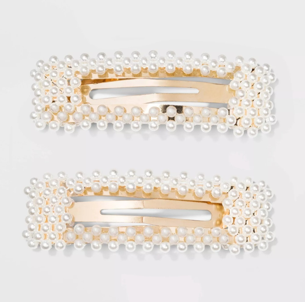 Square Barrettes with Pearls Clips and Pins
