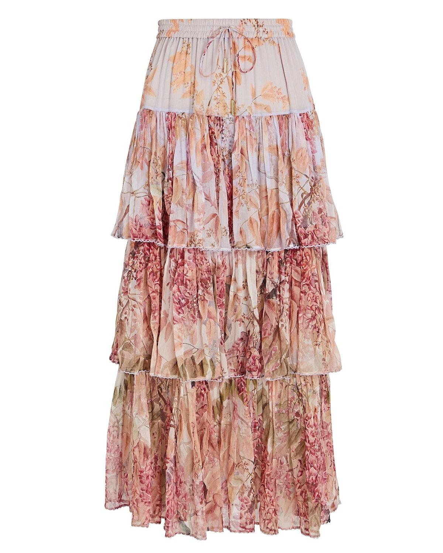 Botanica Tiered Silk Floral Skirt