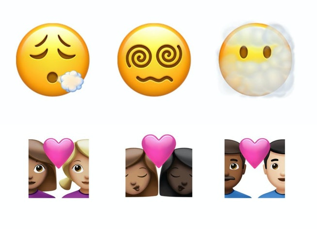 Apple's new batch of emoji include a vaccine, exhaling face and many new skin tone combinations.