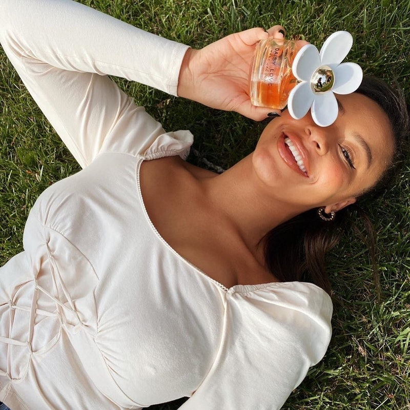 Nia Sioux in a photo for Marc Jacobs fragrances, which was posted to Instagram.