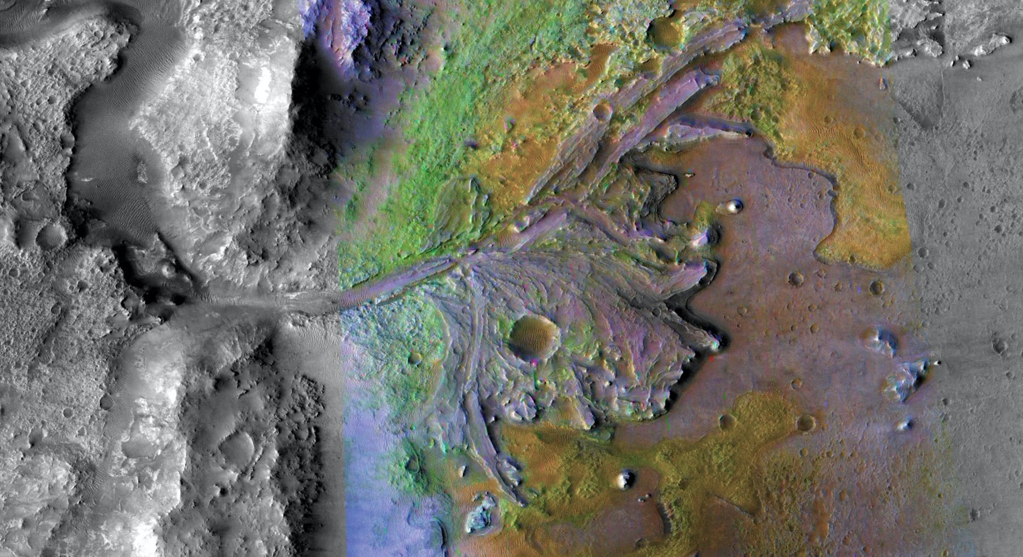 An overview map of the Jezero Crater on Mars.