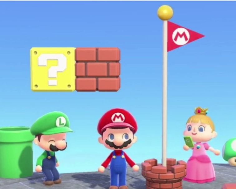 Mario Bros and Princess Peach can be seen in Animal Crossing: New Horizons format.