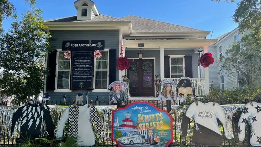 A house is decorated like 'Schitt's Creek' for Mardi Gras.