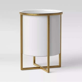 Iron Planter With Brass Stand White