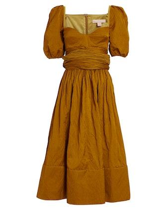 Puff Sleeve Poplin Midi Dress