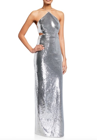Sequin Side-Cutout Halter Gown