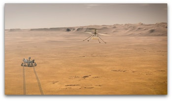 An animated image of Perseverance rover and Ingenuity helicopter on the surface of Mars.