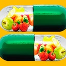 vitamin capsules with fruit inside