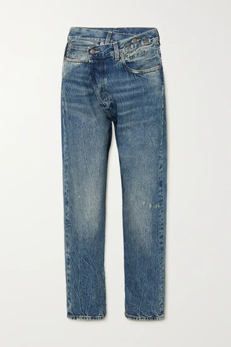 Crossover Asymmetric Distressed Boyfriend Jeans