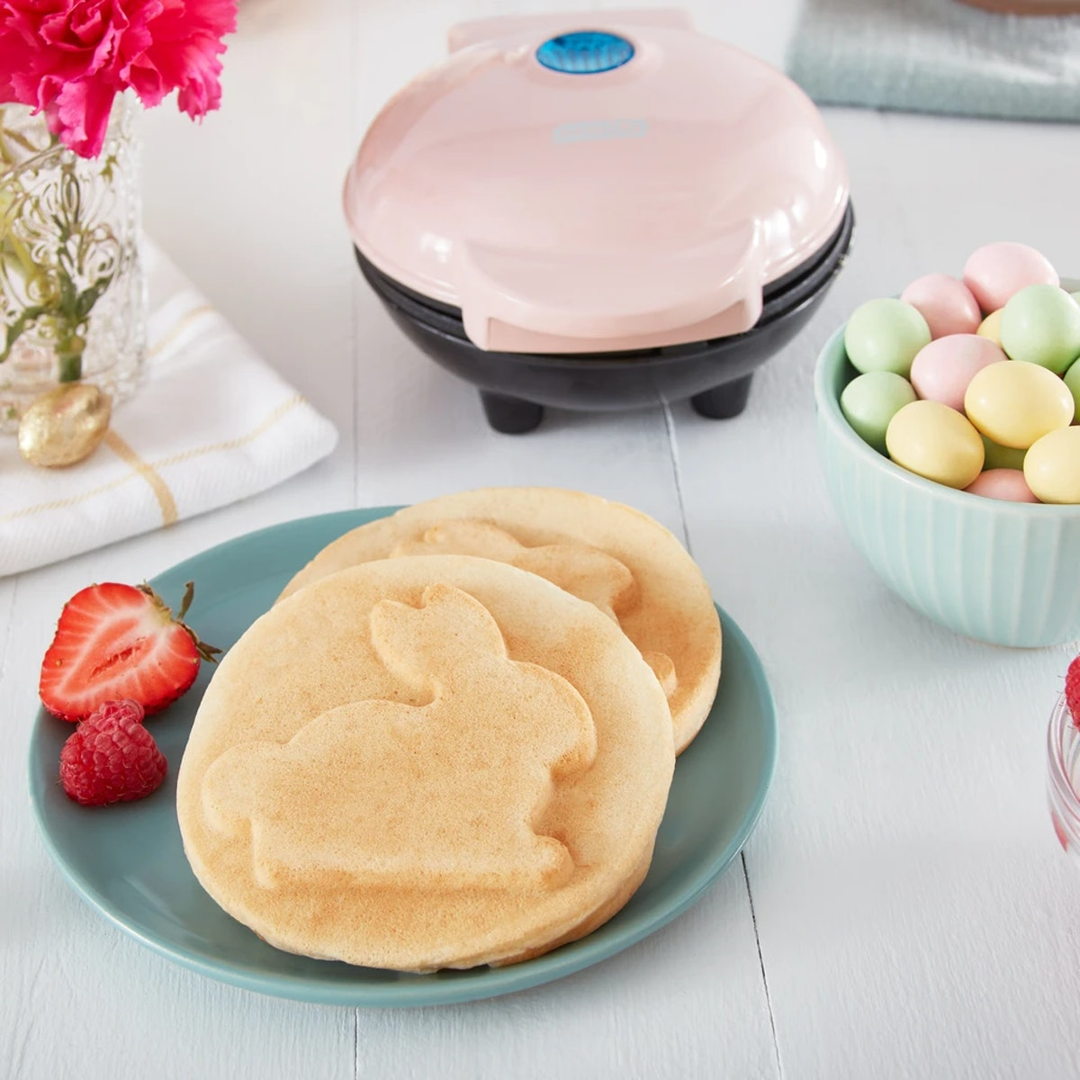 This Bunny Mini Waffle Maker from Dash comes in two pastel colors.