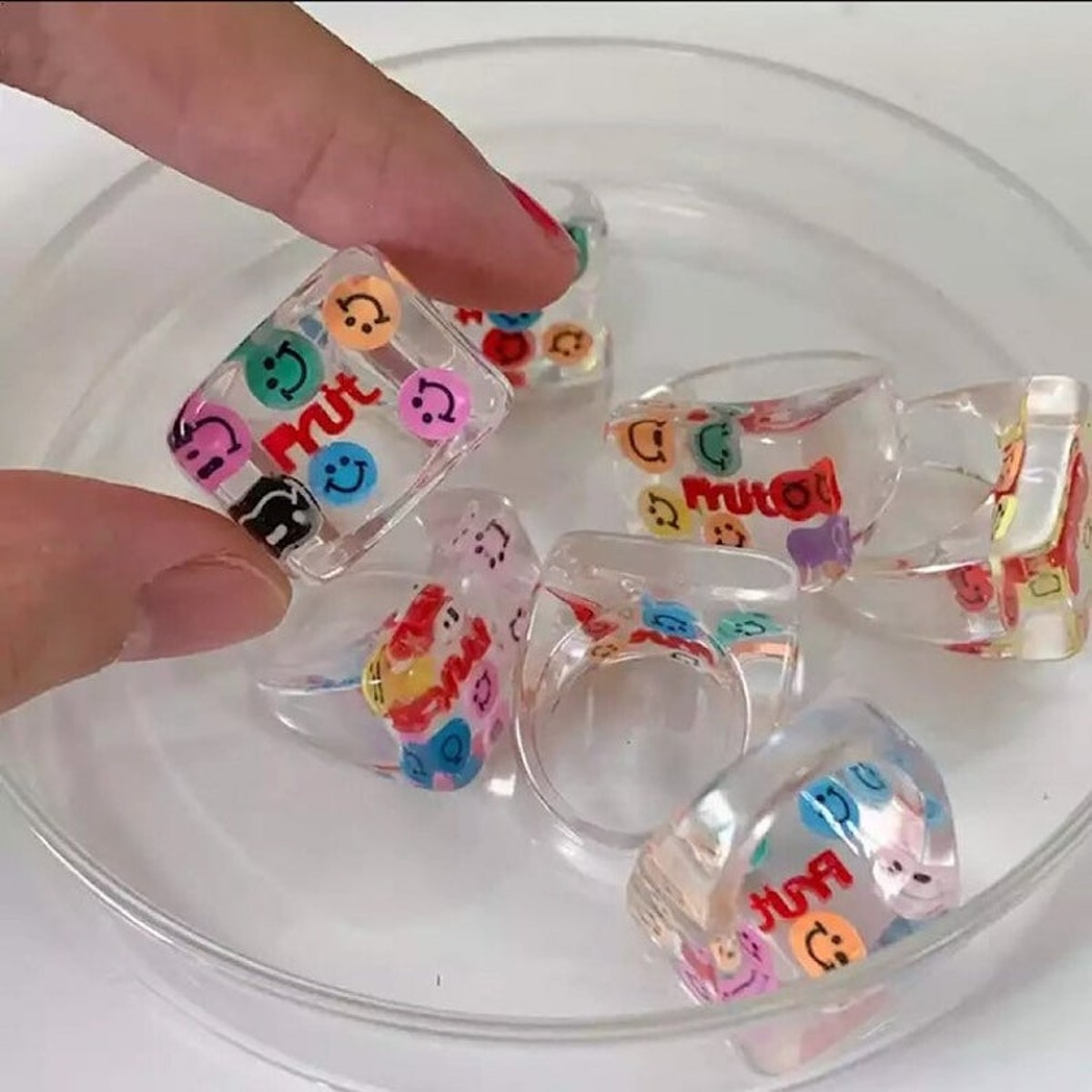 CreativeCRAFTShop4U Smiley Face Ring Transparent Square Cute Chunky Clear Rings