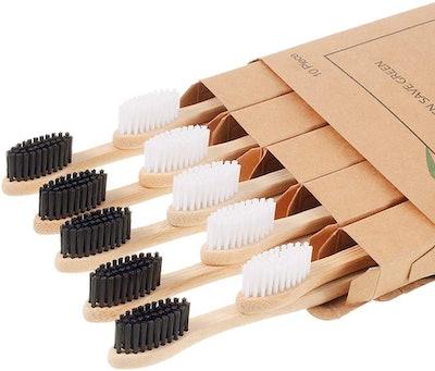 Nuduko Bamboo Toothbrushes (10-Pack)