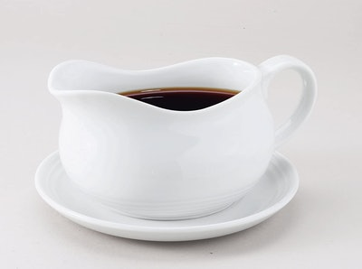 HIC Hotel Gravy Sauce Boat With Saucer Stand (24 Oz.)