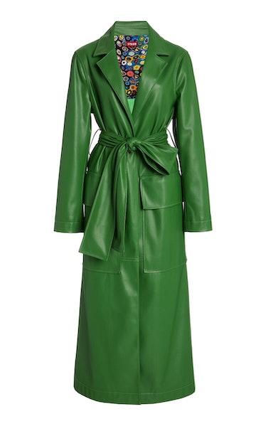 Ashley Vegan Leather Long Lined Coat