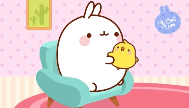 'Molang's is a cartoon about a bunny and a chick.
