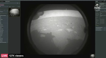 An image from a fisheye lens of the Martian surface in Jezero crater