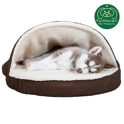 Orthopedic Round Faux Sheepskin Snuggery Burrow Pet Bed