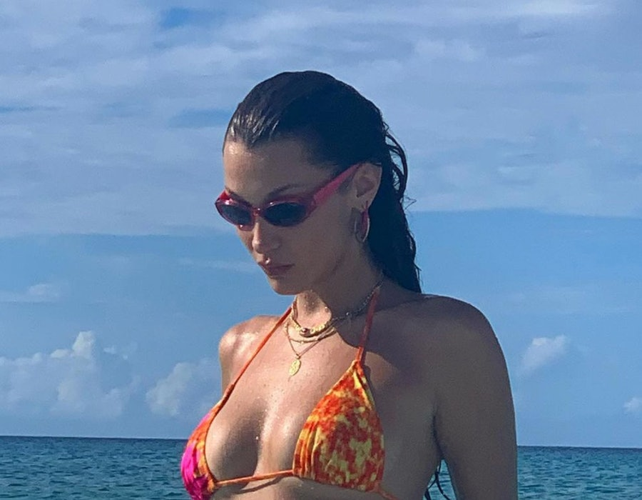Bella Hadid posted a swimsuit photo to her Instagram on Oct. 2020.