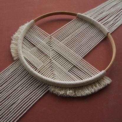 GEO_06 | wallhaning | geometric lines | 100%cotton | beechwood