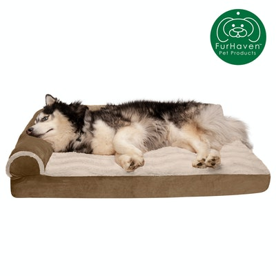 Deluxe Orthopedic Wave Fur & Velvet L-Shaped Chaise Couch Pet Bed