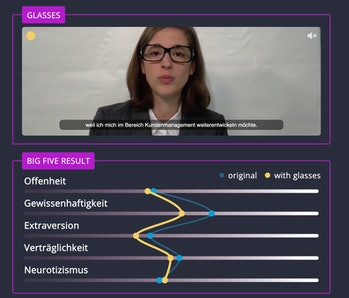 Screenshot of BR's experiment video featuring a woman wearing glasses with an OCEAN assessment chart