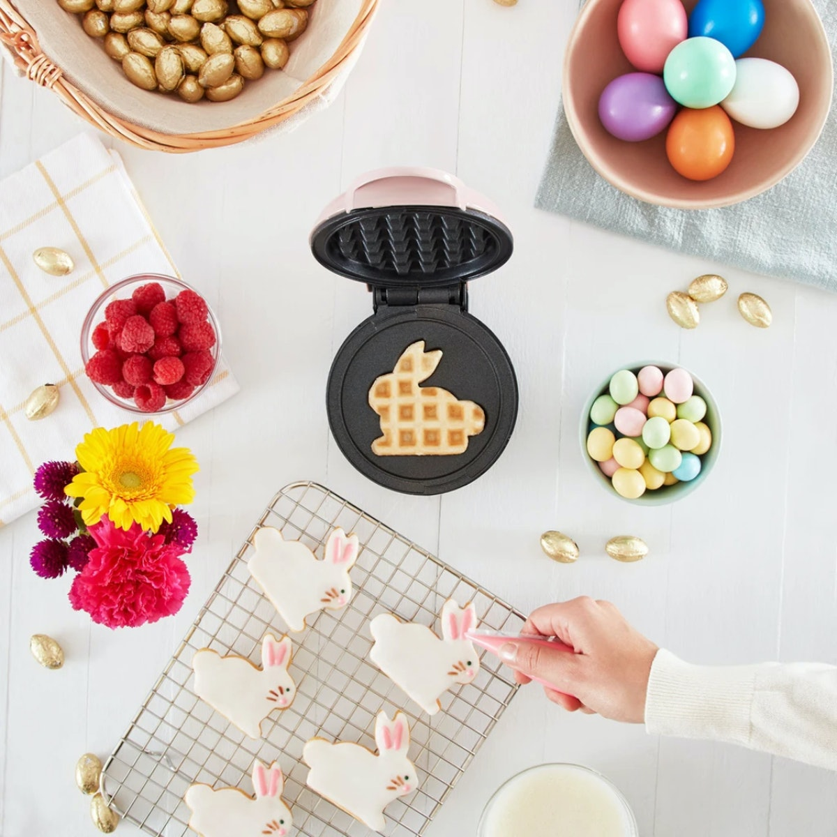 This Bunny Mini Waffle Maker from Dash features cute pastel shades of pink and blue.