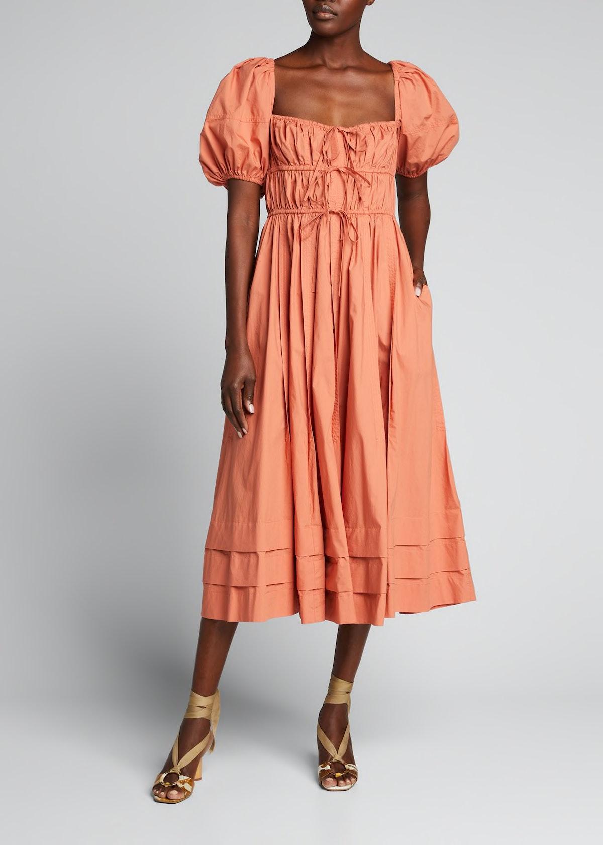 Palma Tiered Poplin Puff-Sleeve Midi Dress