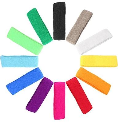 Mallofusa Cotton Sweatbands (12-Pack)
