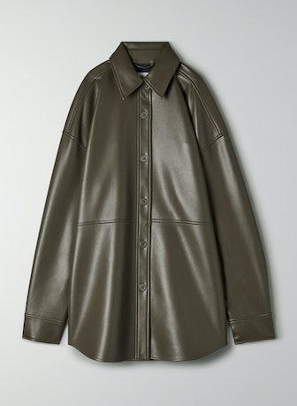 Pelli Vegan Leather Shirt Jacket